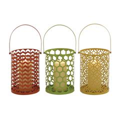 Benzara The Stunning Metal Candle Basket 3 Assorted