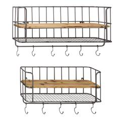 Stylish Set Of Two Metal Wood Wall Shelf Hook
