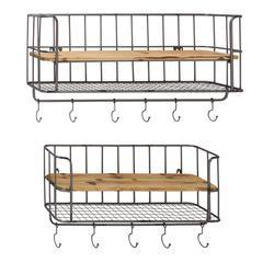 Benzara Stylish Set Of Two Metal Wood Wall Shelf Hook