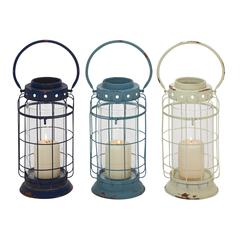 Benzara Mesmerizing Metal Glass Lantern 3 Assorted