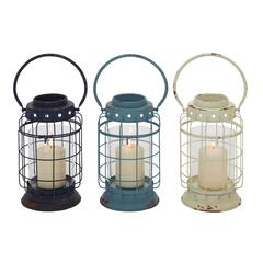 Exquisite Metal Glass Lantern 3 Assorted