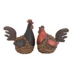 Benzara Old Look Garden Hen Or Rooster From Heavy Polystone