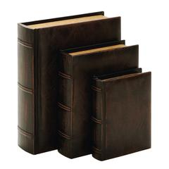 "Library Wood Leather Book Set/3 13"", 10"", 8""H"