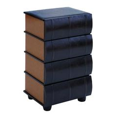 Benzara Table Top Drawers As Smooth Leather Books
