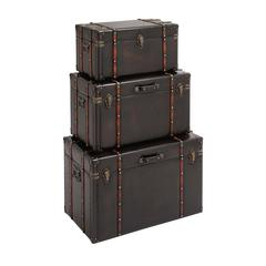 The Stunning Set Of 3 Wood Leather Trunk