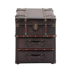 Benzara The Rich Wood Leather Side Table Chest