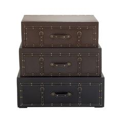 Benzara Classy Wood Leather Trunk Cabinet