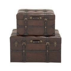 Benzara Classy Wood Polyurethane Leather Trunk Set Of 2