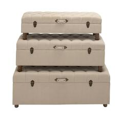 Benzara Wonderful Styled Wood Fabric Trunk Set Of 3