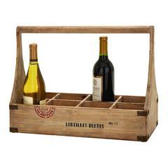 "Benzara Wood Wine Basket 18""W, 14""H Unique Home Accents"