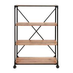 "Benzara Portable Metal Wood  Shelf 63""H, 40""W"