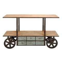 "Benzara Reclaim Metal Wood Storage Cart 63""W, 38""H"