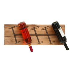 """Benzara Wall Wood Metal Wine Rack 26""""W, 8""""H"""