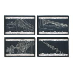 Benzara Blueprint Style Art With Iconic World Bridges