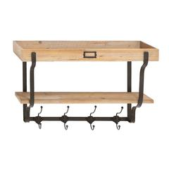 Functional Multi Level Wall Shelf And Hooks