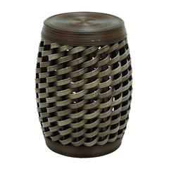 Wicker Stool In Unique Barrel Shape