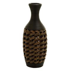 "Benzara 24"" Flower Vase In Stylish Wicker Woven Pattern"
