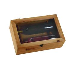 Benzara Rectangular Wood Wine Box With A Metal Lock