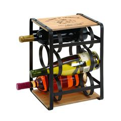 Benzara Wine Holder In Brown Colored Metal Frame