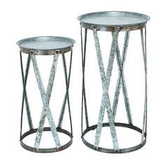 Conventional Décor Metal Pedestal - Set Of 2