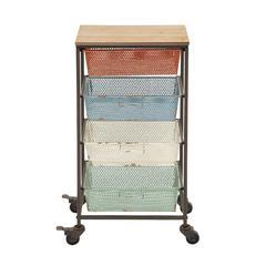 Benzara Colorful And Portable Metal Wood Storage Cart