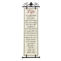 Benzara Message Driven Metal Fabric Wall Art