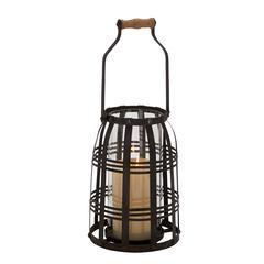 Benzara Glamorous Stylish Metal Glass Candle Lantern