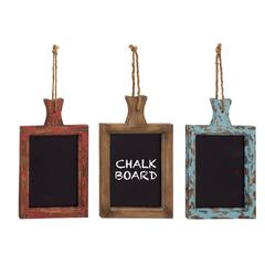 Unique Styled Hanging Wood Chalkboard Set Of 3