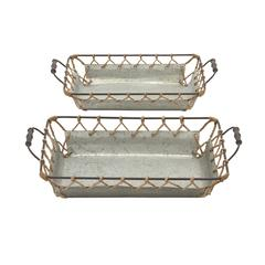 Benzara Well Designed Attractive Metal Rope Tray Set Of 2