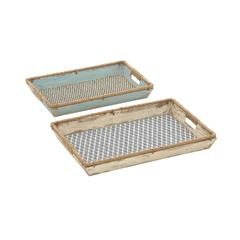 Benzara Striking Customary Styled Wood Burlap Tray Set Of 2