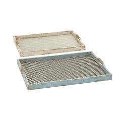 Classy Patterned And Designed Wood Fabric Tray Set Of 2