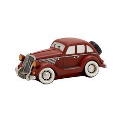 Benzara Maroon Polished Fantastic Polystone Car Piggy Bank