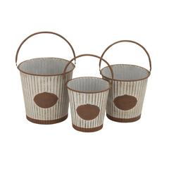 Benzara Victoria Unique Patterned Metal Pail Set Of 3