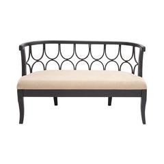 Benzara The Lovely Wood Fabric Bench