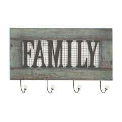 "Benzara Stylish Wood Metal Family Wall Hook 24""W, 15""H"