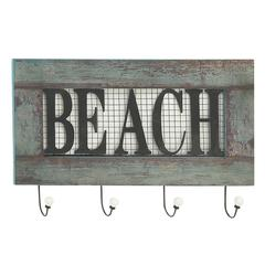 """Quirky Wood Metal Beach Wall Hook 24""""W, 15""""H"""