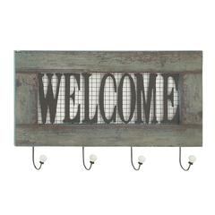 "Awesome Wood Metal Welcome Wall Hook 24""W, 15""H"