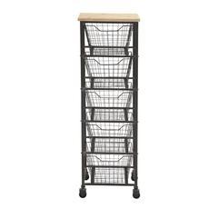 Benzara Magnificent Styled Metal Wood Storage Cart
