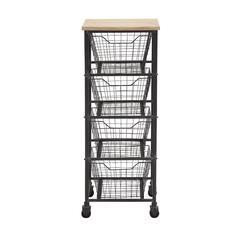 Benzara Classy Styled Metal Wood Storage Cart