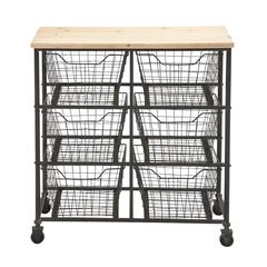 Benzara Unique Styled Fancy Metal Wood Storage Cart