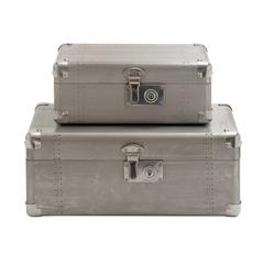 Benzara Antique Styled Wood Aluminum Case Set Of 2