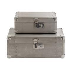 Antique Styled Wood Aluminum Case Set Of 2