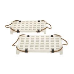 White Wood Rope Tray Set Of 2