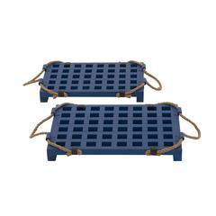 Benzara Blue Wood Rope Tray Set Of 2