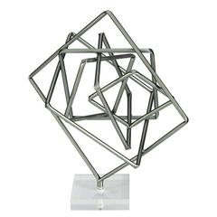 Unique Metal Acrylic Sculpture, Grey & Translucent