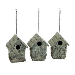 Benzara Poly Stone Birdhouse In Elegant White Finish - Set Of 3