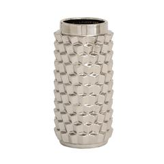 Benzara Customary Styled Fancy Ceramic Silver Vase