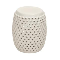 Benzara White Polished Fancy Ceramic White Foot Stool
