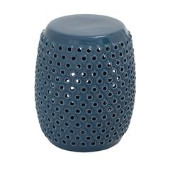 Benzara Wonderful Styled Amazing Ceramic Blue Foot Stool