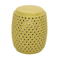 Benzara Attractively Patterned Ceramic Yellow Foot Stool